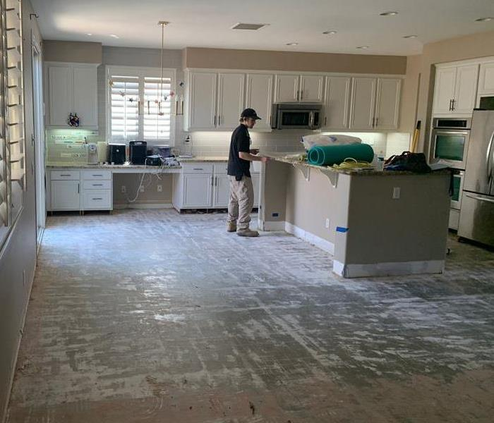 Water Damaged Engineered Wood Flooring in Kitchen After Removal